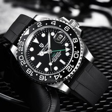 PAGANI تصميم التلقائي ساعة ميكانيكية الرجال الياقوت الزجاج العلامة التجارية الفاخرة مضيئة مقاوم للماء التقويم العسكرية GMT الذكور الساعات