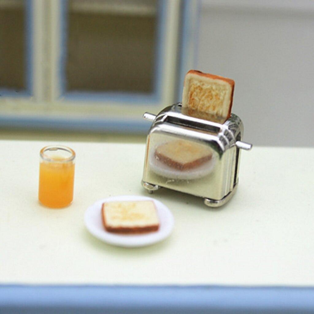 Casa de muñecas miniatura tostadora de pan con tostadas cocina utensilios de cocina accesorios decoración 1/6 escala 1/12