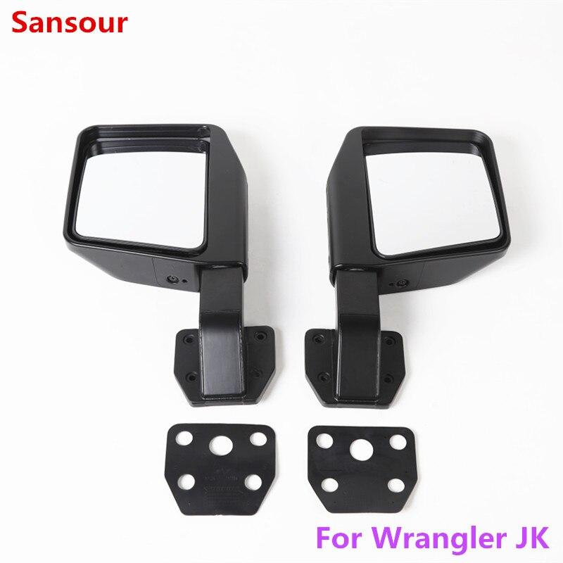 Sansour para accesorios Jeep redondos 4x4 espejos para Jeep Wrangler espejos rectangulares para Jeep Wrangler JK espejos 2007-2017