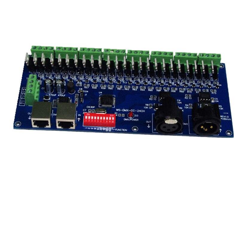 DMX-CC-24CH 8 groups 24 channel dmx512 XRL 3P led decoder,dimmer, controller,drive for RGB led strip lights