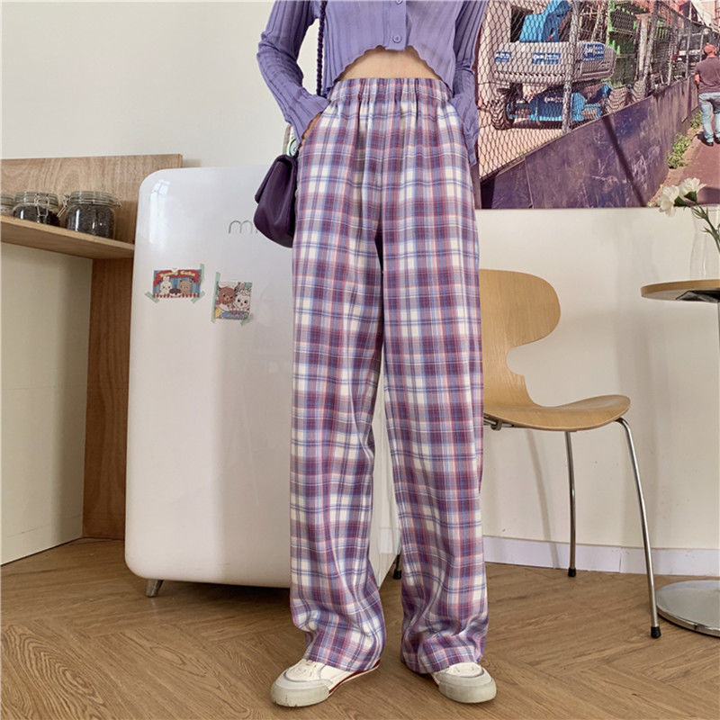 HOUZHOU Harajuku Purple Plaid Wide Pants Women Summer Korean Style High Waist Checked Wide Leg Trousers For Female Oversized
