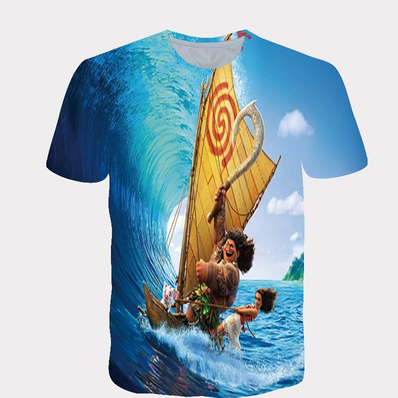 Childrens summer T-shirt boy/girl short sleeve casual baby T-shirt cartoon active princess still in sailing funny T-shirt print