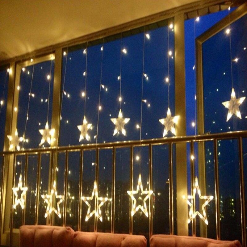 Decoraciones de Navidad de año nuevo para las luces del hogar cuerda Led al aire libre decoración de Navidad Natal blanca cálida 12 lámpara de estrellas decoración.