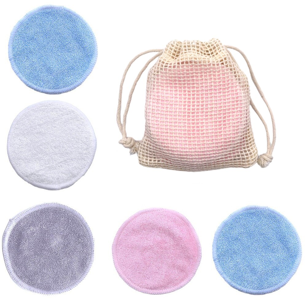 Reusable Bamboo Makeup Remover Pads Cotton 10Pcs Microfiber Washable Rounds Cleansing Facial Tools M
