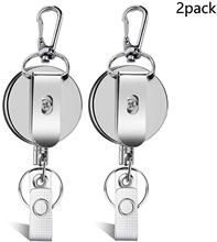 Zayex, 2 шт., новинка, выдвижное кольцо для ключей, ID, значок, ремешок, имя, тег, держатель для карт, Recoil, катушка, зажим для ремня, металлический корпус, металлические чехлы