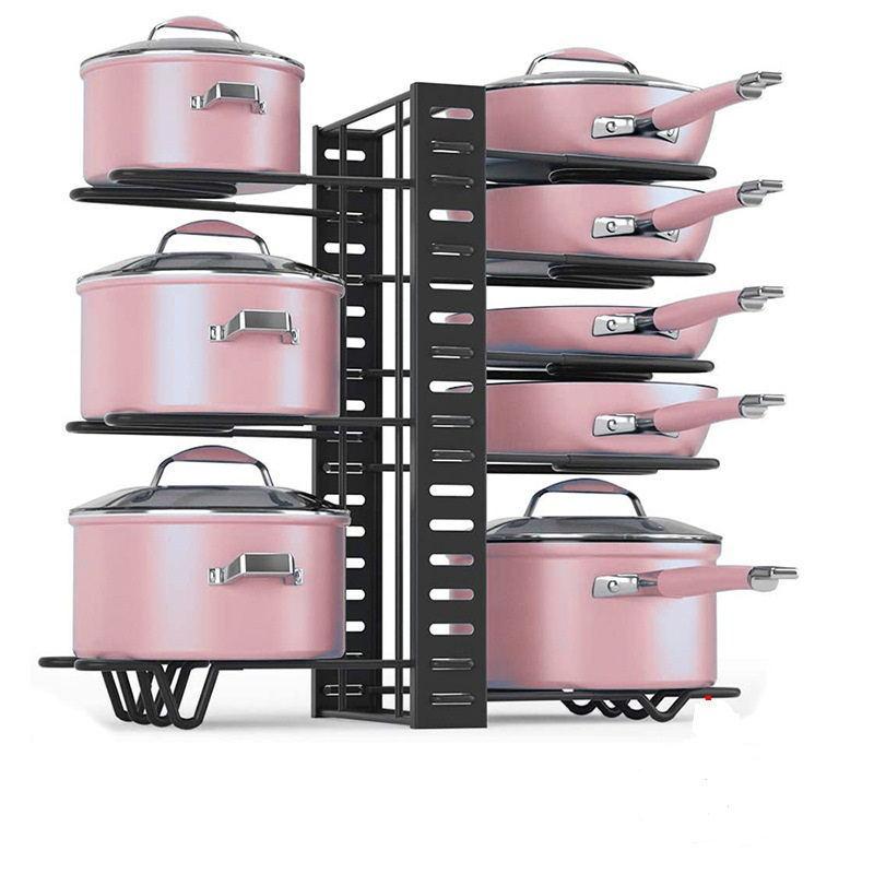 رف تخزين للمطبخ من 4/5/8 طبقة رف منظم لتقوم بها بنفسك رف تنظيم غطاء حامل أدوات طهي أرفف تجفيف الأطباق قابل للتعديل