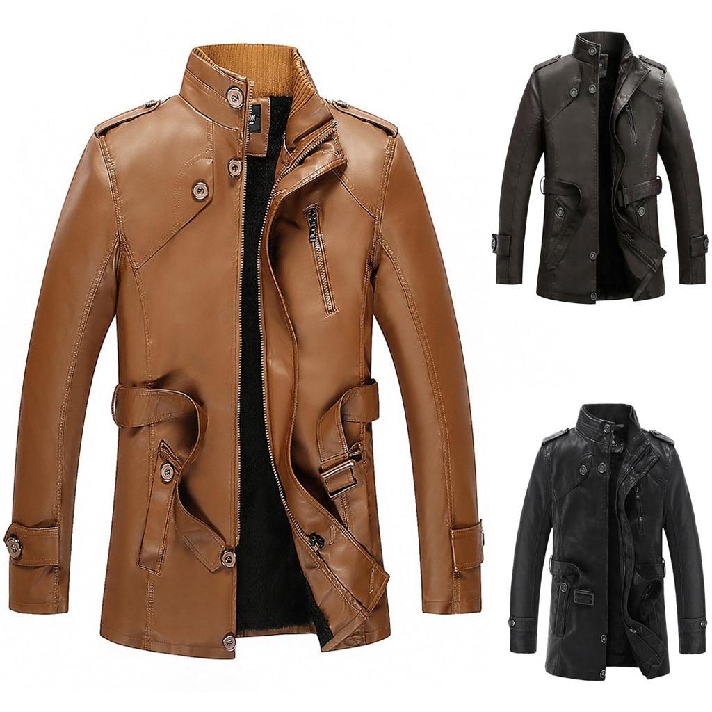 Moda jaket hombre 2020 Otoño Invierno terciopelo faux Leather Coat streetwear gabardina abrigo largo prendas de vestir exteriores para Hombre Ropa envío gratis