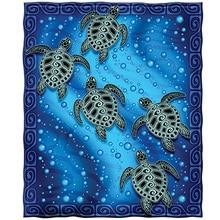 Broderie en diamant 5D rond   Carré complet, bricolage, mosaïque de peinture en diamant de tortues de mer Tribal, décoration de maison en strass