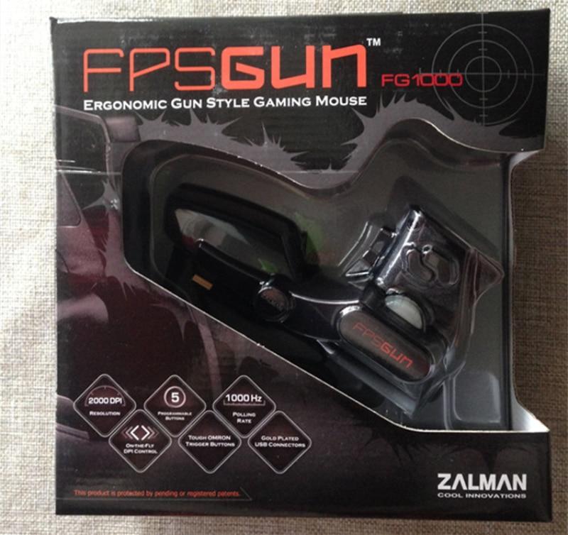 Corea ZALMAN FPS FG1000 ergonómico arma estilo pro de ratón del juego negro óptico 3D cable USB/CF/LOL ratón 2000DPI