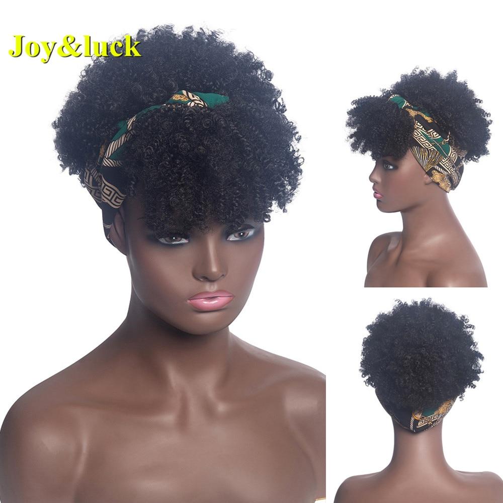Joy&luck Headband Synthetic Wig Short Afro Kinky Curly Hair Wigs For Black Women Fluffy Curls Hairband African Turban Wrap Hair