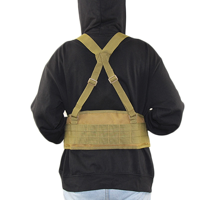 1000D Nylon Tactical Molle Cinturón chaleco Airsoft Combat Soft Faja acolchada Chaleco en forma de H Ejército Militar Cinturón de cintura ajustable Accesorios de caza