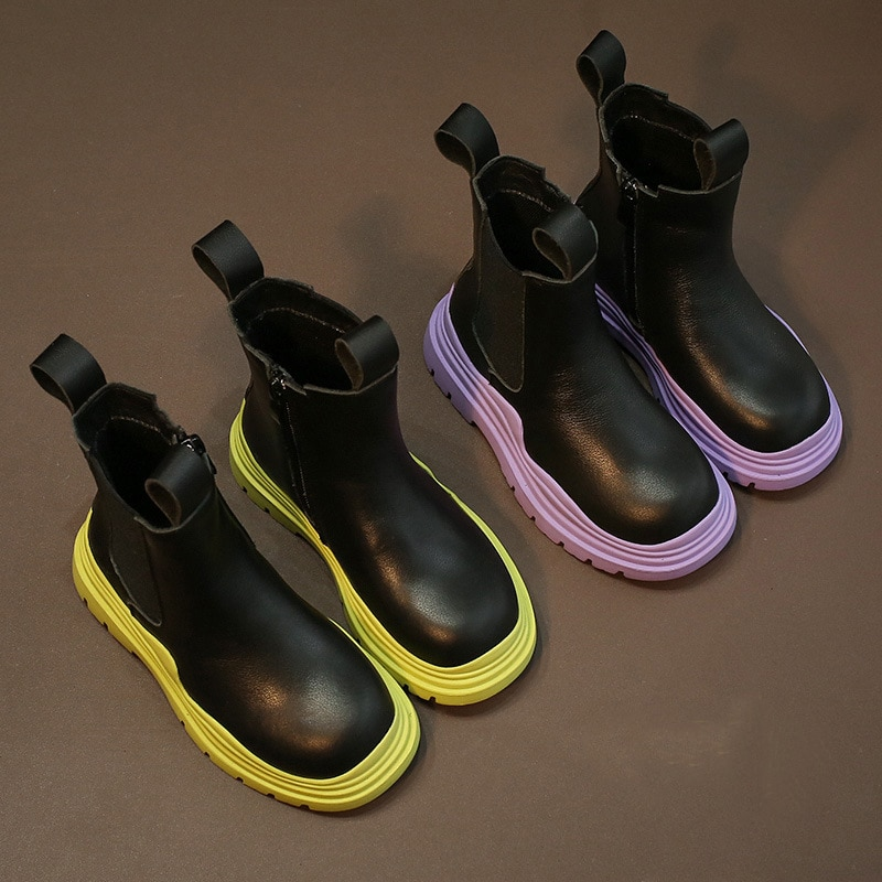 2021 Autumn Winter New Kids Boots Fashion Leather Girls Shoes 8 10 12 13 14 years