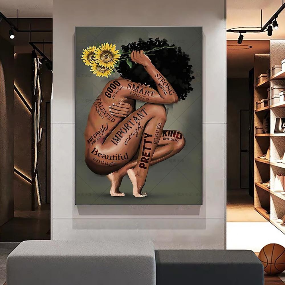 Carteles de la Reina Afro negra y girasol, pintura en lienzo, decoración del hogar, arte de pared Vintage para decoración de sala de estar, salón y Bar