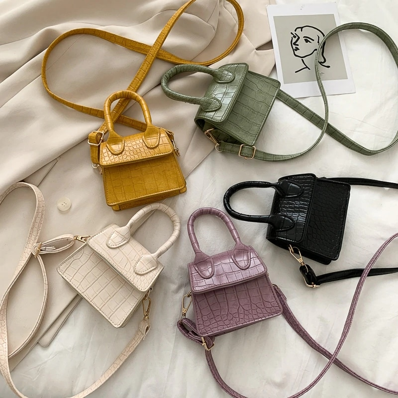 Mini Small Square Bag 2021 High Quality PU Leather Women\'s Handbag Crocodile Pattern Chain Shoulder Messenger Bags Handbag