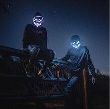 10 couleurs Halloween masque LED Purge masques élection Mascara Costume DJ fête éclairer masques lueur dans foncé Punk mode Cosplay