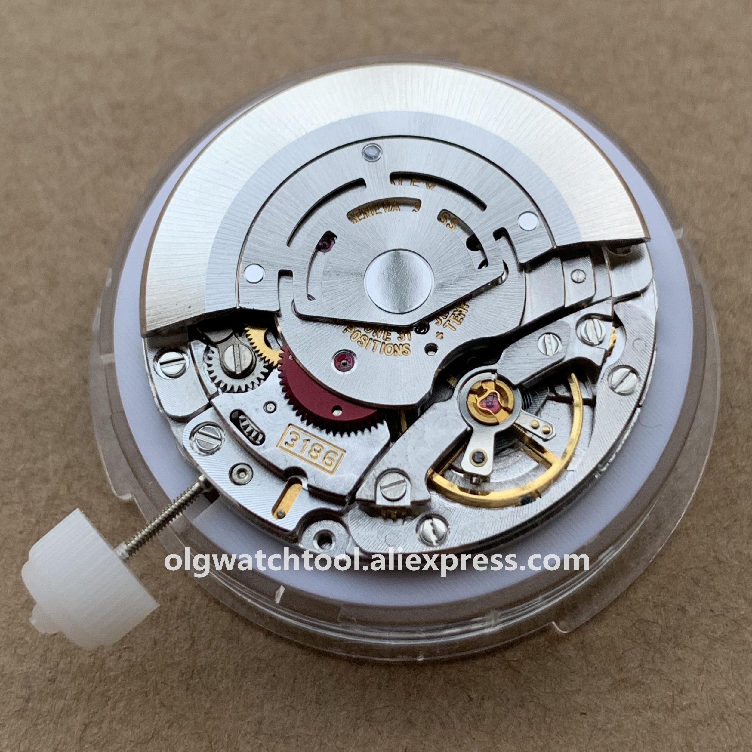 Envío Gratis China clon RLX GMT 3186 movimiento mecánico automático movimiento de hombres reloj movimiento azul equilibrio