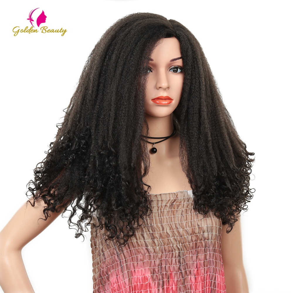Golden Beauty 22 inches Long Afro Kinky Curly Wig Black Ombres Brown Synthetic Hair Cosplay Wigs Puff Yaki Wig for African Women