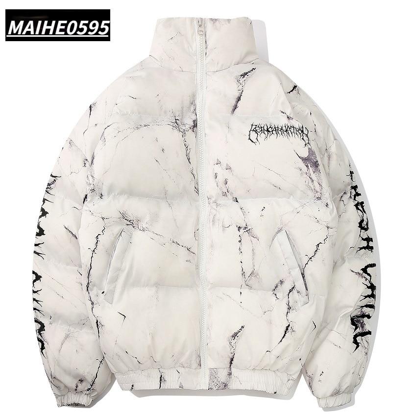 men winter parkas coat  2020 Hip Hop Pockets Thick Jackets Men Fashion Casual texture printing streetwear Oversized jacket tops