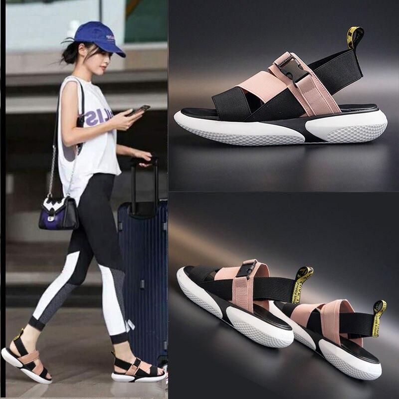 Sandalias deportivas de Punta abierta para mujer, zapatos de playa antideslizantes con suela gruesa aumentada, informales, de moda, novedad de verano