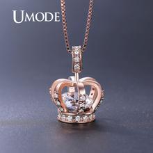 UMODE or Rose couronne pendentifs colliers pour femmes clair AAA + CZ collier de luxe mariée bijoux de mariage filles fête cadeau UN0317A