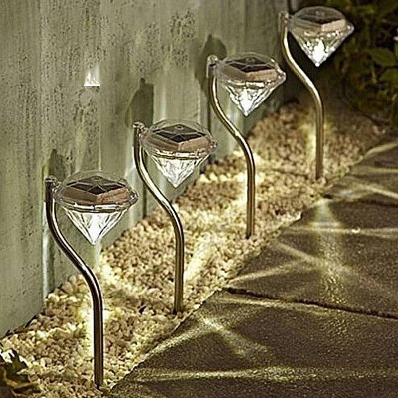 4 Uds. Luces LED solares para jardín, lámparas LED coloridas para exteriores, decoración de sendero, lámpara de césped con diamantes, luces solares para caminos