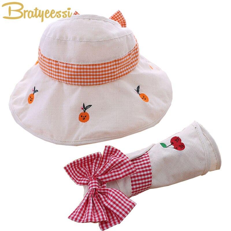 Nuevo sombrero de verano para niña, sombrero de algodón con lazo grande para niños, gorro ajustable para niños, sombrero de cubo con estilo para niños