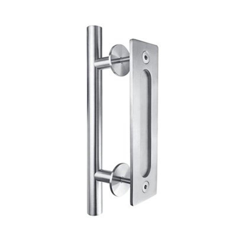 مقابض أبواب انزلاقية من الفولاذ المقاوم للصدأ ، 304 مقبض باب خشبي أسود للأبواب الداخلية