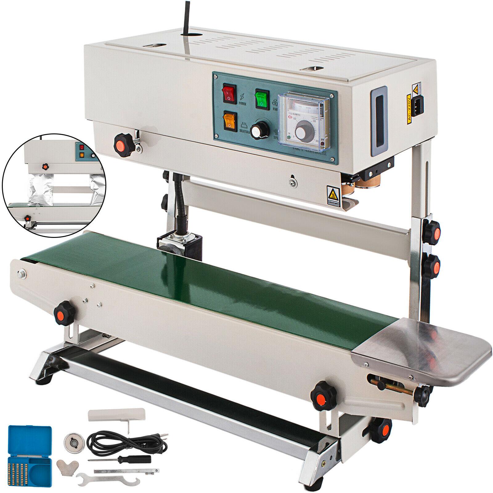 VEVOR FR-900 المستمر الرأسي/الأفقي آلة الختم 700 واط التلقائي السدادة البلاستيكية الترميز البلاستيك شعار لخط الإنتاج