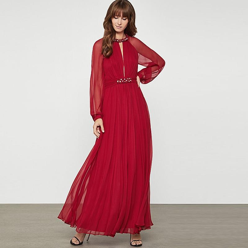 Gedivoen Spring Solid Red Chiffon Dress Women Lantern Sleeve Elegant Lace up  A Line Dress Fashion Runway Ankle Length Dresses