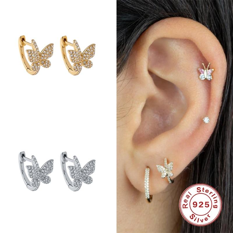 KOJ Sweet Butterfly/plant Small Hoop Earrings For Women 925 Sterling Silver Zircon Party