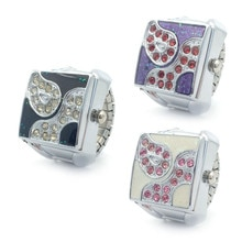 Personality Atmospheric Square Multi-drilled Flip Watch Ring Unisex Creative Fashion Rhinestone Coup
