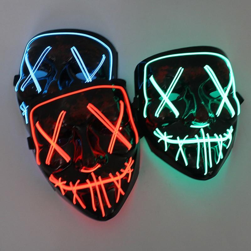 Halloween LED Maske Purge Masken Wahl Mascara Kostüm DJ Party Licht Up Masken Glow In Dark Mascara Horror Maske Glowing masker