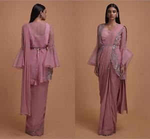Thulian Pink Ready Pleated Saree Topped With Organza Jacket Having Bell Sleeves 2020 bling bling indian evening prom dresses