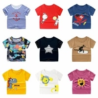 childrens fashion casual t shirt boys and girls short sleeved cute cartoon animal round neck cotton top