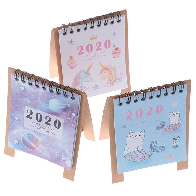 2020 свежий мультяшный мини Фламинго Настольный бумажный календарь ручной рисунок