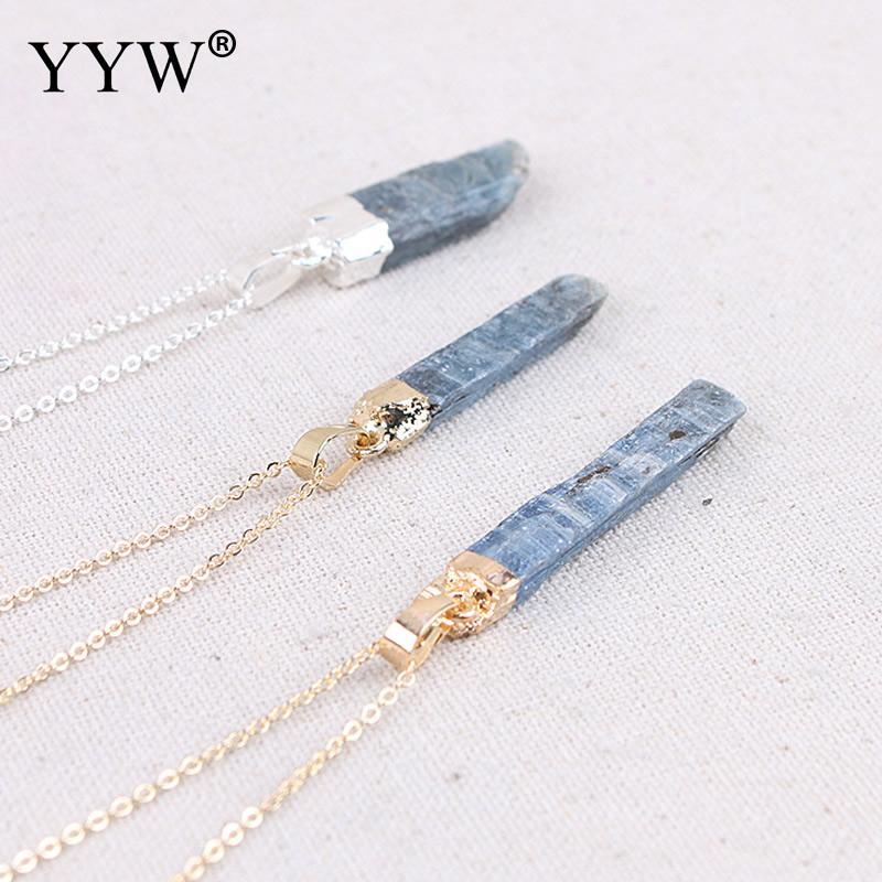 Piedra Natural kyanita suéter Collar para mujeres alta calidad joyería femenina oro con cadena larga de plata joyas bijoux regalos