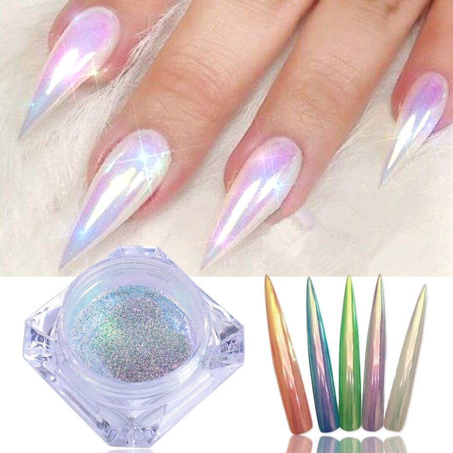 1 boîte sirène néon Chrome ongles paillettes perle poudre Aurora miroir manucure UV Gel vernis miroitant Dip poussière bricolage ongles décor LA354