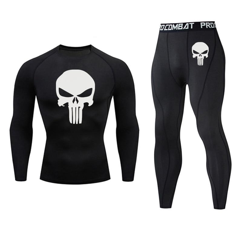 Traje deportivo de marca para hombre, mallas de compresión Punisher MMA Tactics, ropa interior rashgard para hombre de secado rápido, ropa para correr en gimnasio