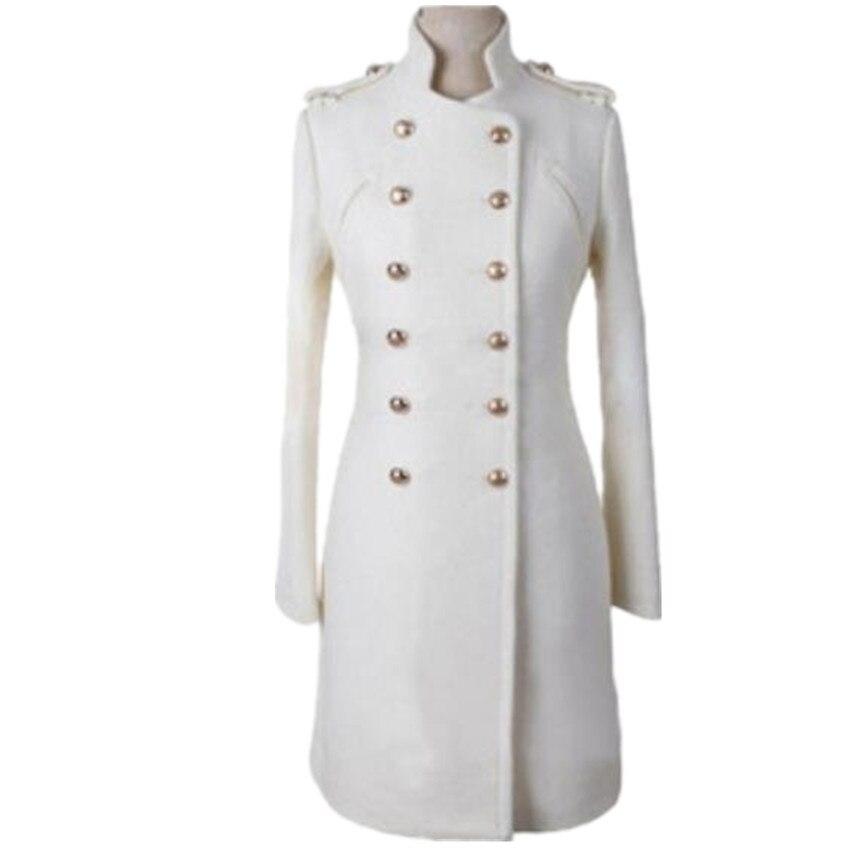 Epaulet estilo militar párr mujer de abrigo de lana, con cuello levantado...