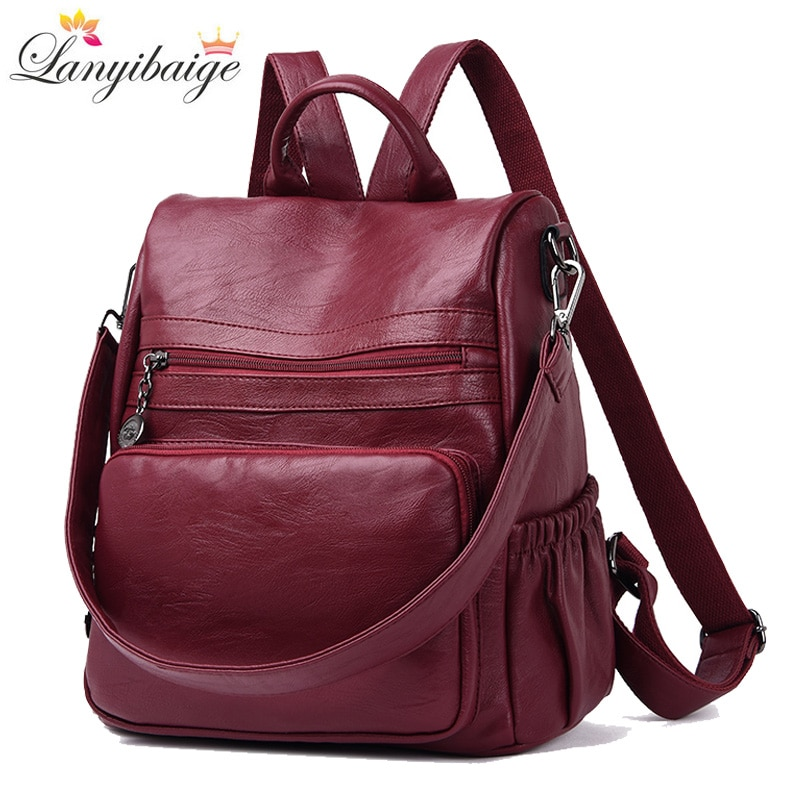 Novo 2018 mulheres casuais mochila de alta qualidade mochilas de couro para adolescentes meninas do sexo feminino saco de escola bolsa de ombro bagpack mochila