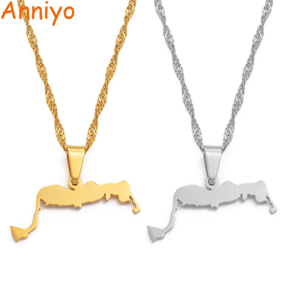 Anniyo Turcas y Caicos collares colgantes de acero inoxidable y Color oro joyería regalos #115706