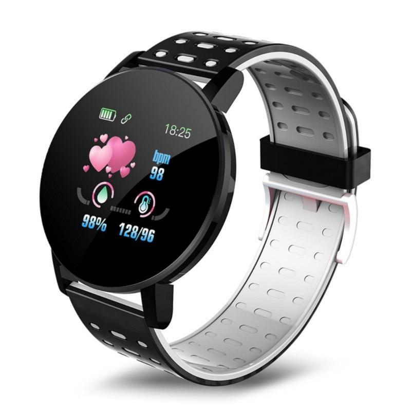 119 PLUS banda inteligente presión arterial Monitor de ritmo cardíaco rastreador de Fitness pulsera de Fitness inteligente resistente al agua pulsera de cámara remota