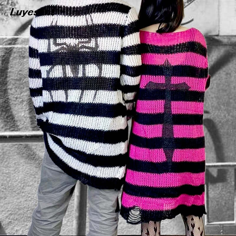 Plus Size Gothic Unisex Spider Cross Print Stripe Sweater Women Man Loose Stretch Punk Hollow Jumper Cool Thin Long Streetwear