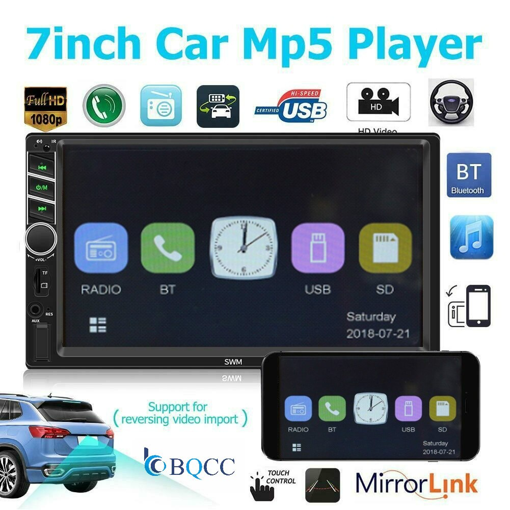 7 polegada carro mp5 player fm rádio bluetooth 4.0 aux usb rc aux usb disco tf swc autoradio + cam