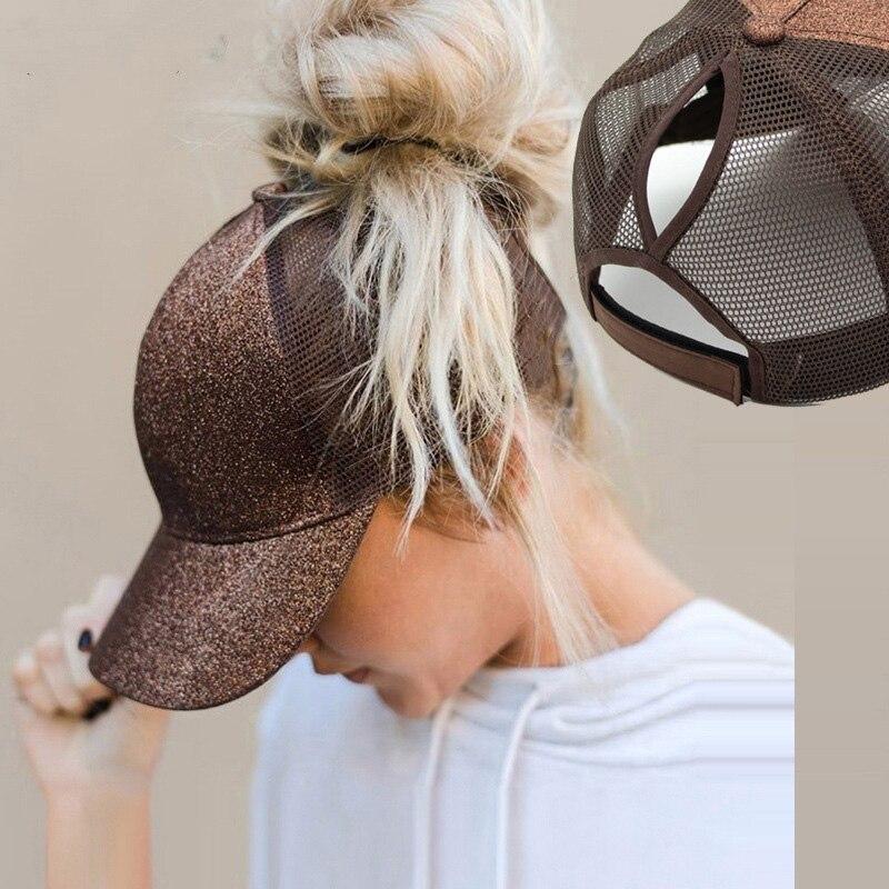 Бейсболка для хвоста с блестками женская, Кепка-бейсболка с сеткой, в стиле хип-хоп, черная регулируемая, на лето, 2021
