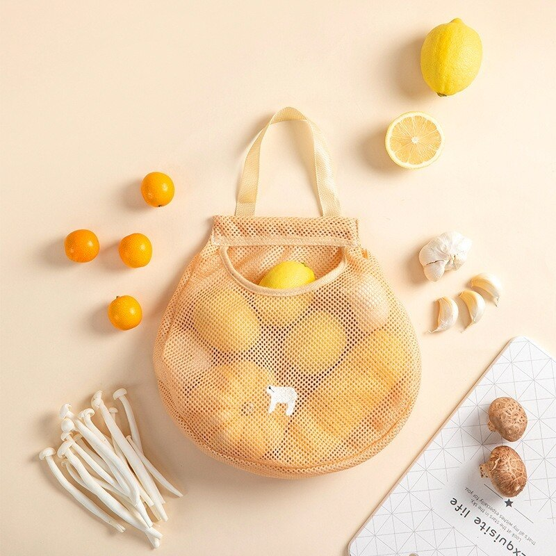 1pcs Ginger Onion Totes Mesh Bag Reusable Shopping Vegetable Fruit Hanging Pouch Washable Multifunction Kitchen Accessories