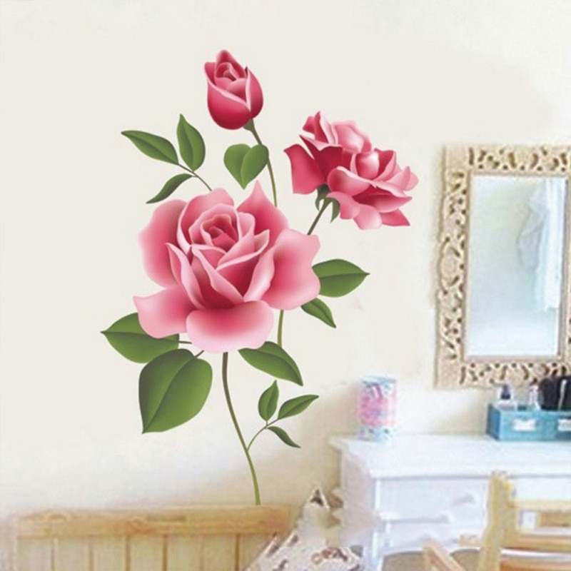 Pegatinas de pared 3D rosas románticas de 50x70cm para el hogar, el Salón, el dormitorio, la cocina, flores, tienda, calcomanías para regalos, decoración de arte DIY extraíble