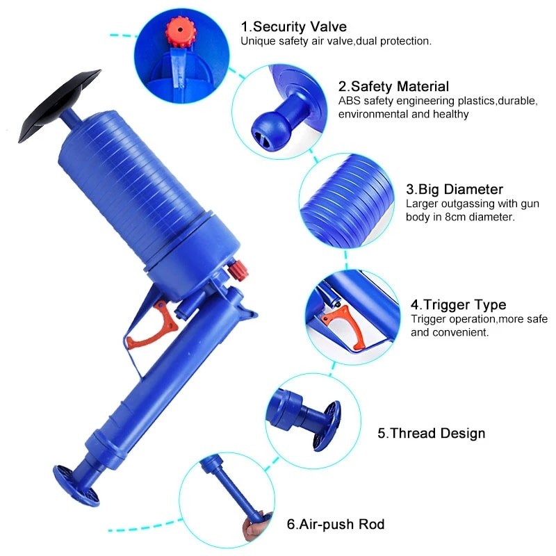 Pipe Plunger Pump Pressure Pipe Plunger Drain Cleaner Sewer Sinks Basin Pipeline Clogged Remover Kitchen Toilet Cleaning Tools enlarge