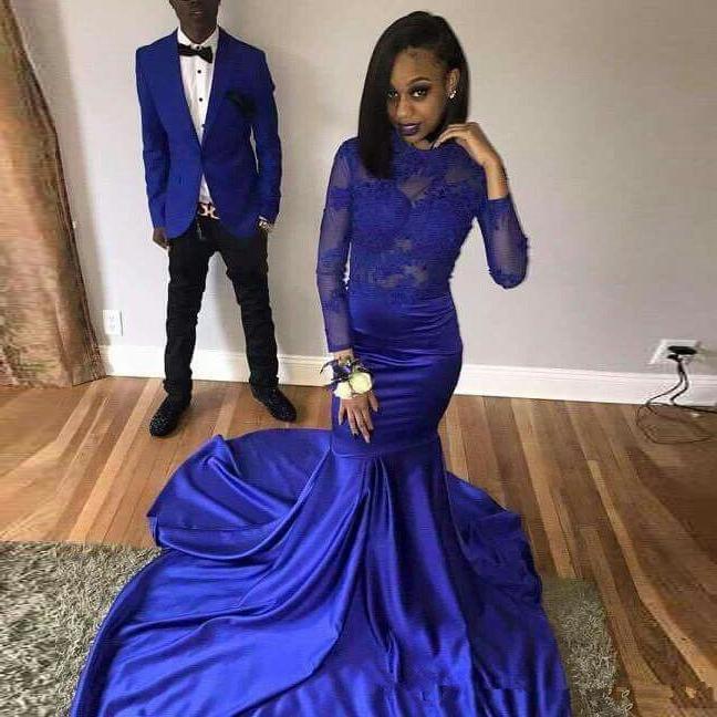 Africana azul real sirena vestidos de graduación 2019 gala jurken negro, las niñas y las mujeres vestidos de fiesta importados mangas largas Formal vestido de noche