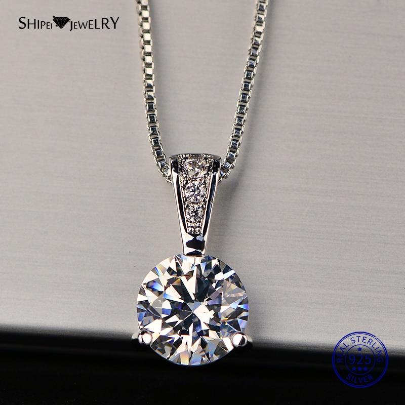 Женское Ожерелье из стерлингового серебра 925 пробы Shipei, ювелирное изделие в виде сердца и стрел, кулон из муассанита, подарок на день рождения